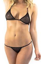 Black mesh fish net micro bikini,triangle top with matching g-sting