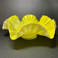 Antique Victorian Hand Blown Art Glass Cased Ruffled Footed Bowl Brides Basket