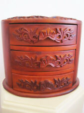 Teak wood Jewelry Box with  carved dragons and floral oval 3 felt lined drawer