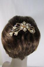 New Women Hair Pin Head Fashion Gold Metal Jewelry Silver Rhinestones Flower