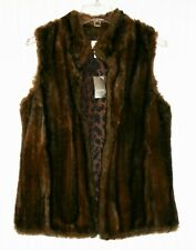 Women's Medium faux mink vest luxuriously soft NEW w Tags, leopard lining Chicos