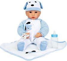 Puppe Baby Benno mit Zubehör Blau Babypuppe Spielpuppe Flasche Decke Neu