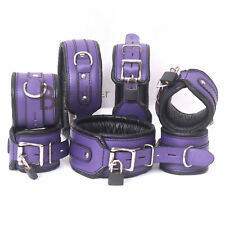 Real Cow Leather Wrist, Ankle Thigh Cuffs & Collar Restraint Set Purple Black