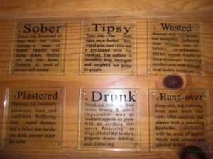 Vintage Set of Six Glass Coasters Novelty Fun Definition of Drinking Stages