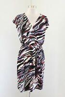 NWT Banana Republic Abstract Print Faux Wrap Dress Tie Belt Size M Maroon Black