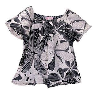 Koi Demi Scrub Top Size L White Black Large Hibiscus Floral Print 134PR