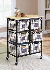 6 Drawer Metal Wire Cart Rolling Organizer Home Kitchen Storage With Baskets