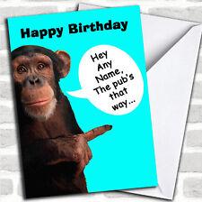 Funny Monkey Pub Birthday Customised Card