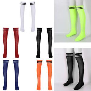 Men Striped Thigh High Closed Toe Sweat-Wicking Elastic Soccer Socks Stockings