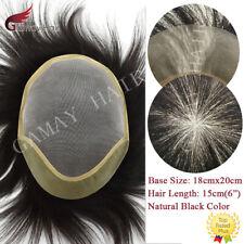 Mono Pu Skin Mens Toupee Hairpiece Asian Human Hair Straight Black Hair Systems