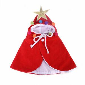 Pet Christmas Costume Cat Dog Cloak Hoodie Poncho Cape Coat Warm Xmas Cute Decor