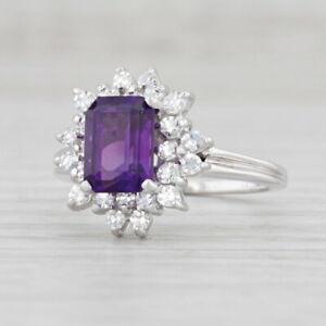1.98ctw Amethyst Diamond Halo Ring 18k White Gold Size 6.75
