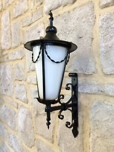 Antique Vintage Arts Crafts Porch Wall Lamp,Iron Light,Opaline Glass Shade,Old