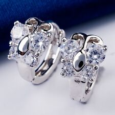 Real White Gold Plated  Three Petals Shape White C.Z Crystal Women Hoop Earrings