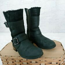 UGG Suede Fabric Fur Lined Mid Calf Boots