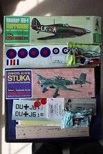 GUILLOW'S HURRICANE & STUKA BALSA & TISSUE MODEL KITS 1976 COMPLETE WITH INSTR