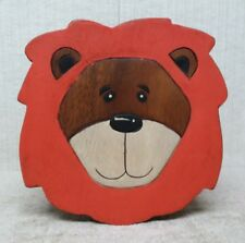 "HAND CARVED and HAND PAINTED - 10"" WOODEN STEP STOOL / SEAT - LION Design"