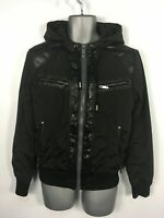 MENS GUESS BLACK CONTRAST SHELL ZIP UP HOOD LIGHTWEIGHT BOMBER JACKET SMALL UK34