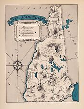 1930s Antique NEW HAMPSHIRE State Map RARE Animated Picture Map BLU 2445