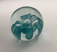 Vintage Art Glass Paperweight Turquoise Aqua Cascading Flower Controlled Bubble
