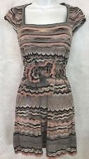 Missoni M Dress Short Pink Gray And Black Cap Sleeves Wool Knit With Tie Size 40