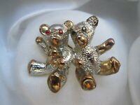 Vintage Gold Silver Tone Ruby Jet Rhinestone Teddy Bears Brooch Pin