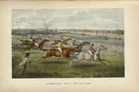 STEEPLECHASE HORSES AND RIDERS PREPARING TO JUMP THE FENCE SADDLE WHIP BY ALKEN