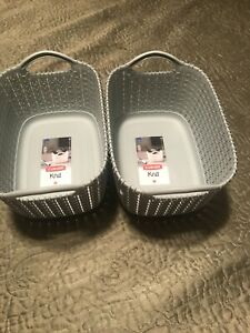 Lot of 2 Curver Knit x Small Mint Color Plastic Basket w/ Handles 3L/3qt ,