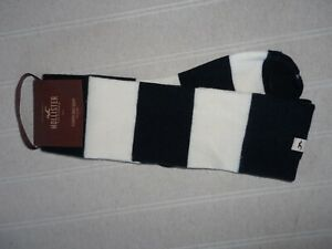NEW FAB HOLLISTER WOMENS  NAVY AND CREAM STRIPE SLOUCHY BOOT SOCKS  RRP$15.50