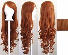 80CM Fashion Women Lady Long Wavy Curly Hair Anime Cosplay Party Wig Wigs Orange