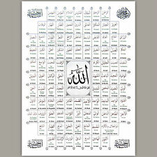 99 Name of Allah Islamic Poster Hanging Arabic English Meaning A3 Folded