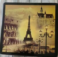 """Vintage ~ Delacre Baker ~ Metal Tin ~ Theme of Paris ~ 8.5"""" x 9"""" x 3.75"""""""