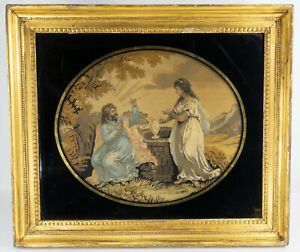 Antique English Fine Silk Embroidery and Ink Painting Religious Gold Frame