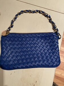 Blue Braided Leather clutch Deux Lux