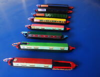 'N' scale model narrow boats. Set of 8. Cargo x 3 & Leisure x 5  All different