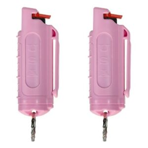 2 Police Magnum pepper spray .50oz pink molded keychain self defense protection