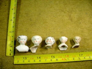 5 x excavated vintage victorian faded painted doll head age 1860 Hertwig A 13462
