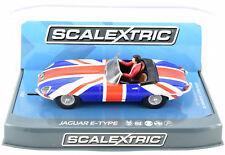 Scalextric Jaguar E-Type - Union Jack W/ Lights 1/32 Scale Slot Car C3878