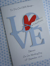 Personalised Card For Husband To Be On Wedding Day: 'To The One I Love'