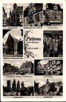 Heilbronn Mehrbildkarte 1954 gelaufen astronomische Uhr Rathaus Schwibbogen u.a.