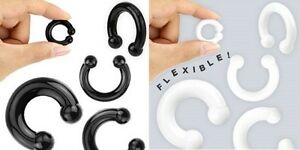 PAIR Soft Flexible Silicone Horseshoe Rings Ear Plug 7 Gauges to choose from