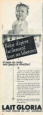 PUBLICITE ADVERTISING   1954   LAIT GLORIA    pour bébé