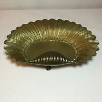 Vintage Ornate Brass Scallop Seashell Dish Footed with 3 Fish Feet - RARE!