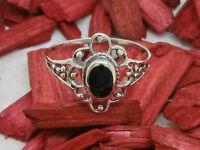 flores ANILLO DE PLATA 925 con negro piedra Ónix Anillo De Plata Anillo Mujer