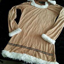 Eskimo Sz S Tan Snow Bunny Indian Womens Costume Sexy Mini Dress Faux Fur Hood