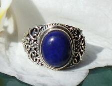 Ring Flower Tendril Lapislazuli Stone of Friendship Sterling Silver 925