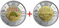 NEW! 2019 75th D-Day COLOURED + NO COLOUR UNC Canada $2 dollar toonie coins