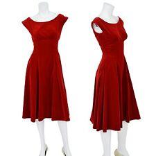 1940's Vintage XS 0 Red Velvet Tea Dress Rockabilly Pin Up Empire Waist