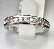 14k solid white gold natural diamond channel  band ring 0.52 ct VS  anniversary