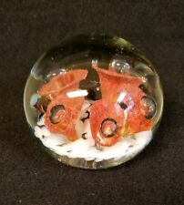 Glass Paperweight, Red and White Floral Design, 2 1/4 x 2 1/2